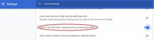Figure 2. 'Do Not Track' Setting in Google Chrome